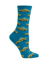 Hot Sox Taxi Cab Printed Cotton Blend Socks Turquoise