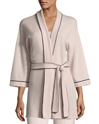 Neiman Marcus Cashmere Tipped Tie Front Bed Jacket Robe Creme Brulee