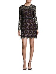 Cynthia Rowley Lynden Bell Floral Lace Long Sleeve Dress Plum Multicolor