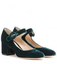 Gianvito Rossi Velvet Mary Jane Pumps Green