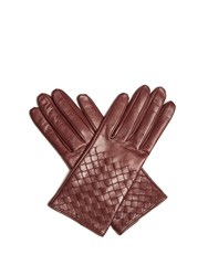 Bottega Veneta Intrecciato Leather Gloves Burgundy