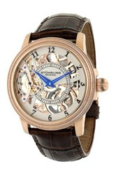 Stuhrling Men's Brumalia Automatic Alligator Embossed Genuine Leather Strap Watch Metallic