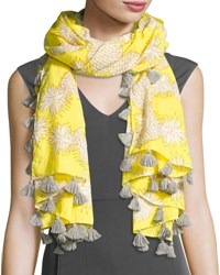 San Diego Hat Company Woven Pineapple Tassel Scarf Yellow