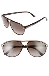 Tom Ford Women's Jacob 61Mm Special Fit Aviator Sunglasses Dark Havana Gradient Smoke Dark Havana Gradient Smoke