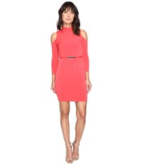 Jessica Simpson Cold Shoulder Mock Nuck Dress Hot Coral Red