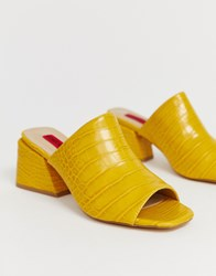 London Rebel Croc Mules Yellow
