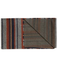 The Hill Side Blanket Stripe Scarf Grey Navy And Rust