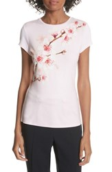 Ted Baker London Soft Blossom Fitted Tee Light Pink