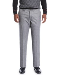 Stefano Ricci Wool Flat Front Trousers Gray