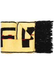 Off White Yellow And Black Industrial Wool Blend Scarf Yellow And Orange