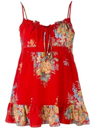 Alexander Mcqueen Floral Print Tank Top Women Silk 38 Red