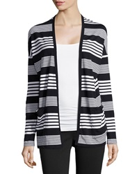 Joan Vass Striped Ruched Back Cardigan Black Combo