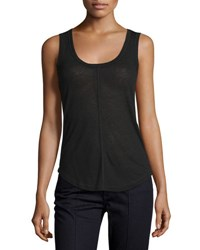 Elie Tahari Hazel Semi Sheer Heathered Jersey Shell Black