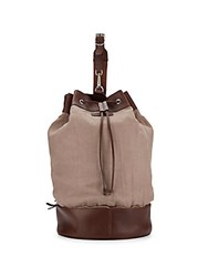 Brunello Cucinelli Leather And Canvas Rucksack Natural