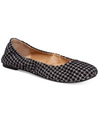 Lucky Brand Emmie Flats Women's Shoes Black Grey Houndstooth