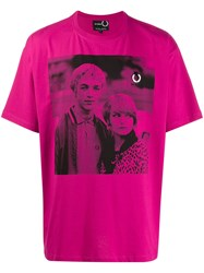 Fred Perry Raf Simons X Two Tone Print T Shirt Pink
