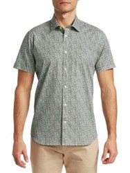 Saks Fifth Avenue Modern Etched Print Short Sleeve Woven Shirt Olive
