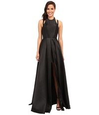 Faviana Frosted Satin Gown With Split Front Overskirt 7752 Black Women's Dress