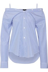 Theory Tamalee Off The Shoulder Striped Cotton Poplin Shirt Blue
