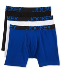 Jockey Active Stretch Tagless Midway Boxer Brief 3 Pack Ultra Blue Diamond White Blackasst 007