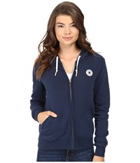 Converse Core Full Zip Fleece Hoodie Nighttime Navy Women's Sweatshirt