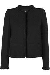 Maje Fringed Boucle Tweed Jacket Black