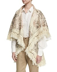Chufy Tramando Embroidered Wool Poncho Vest White