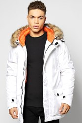 Boohoo Parka Jacket With Faux Fur Trim White