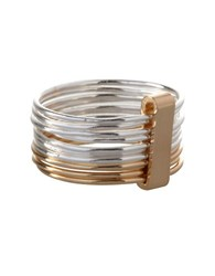Bcbgeneration Basic Multi Row Stacked Two Tone Ring Silver