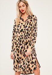 Missguided Brown Leopard Print Midi Split Shirt Dress