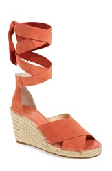 Vince Camuto Women's Leddy Wedge Sandal Melon Daiquiri Suede