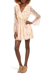Band Of Gypsies Women's Floral Print Surplice Dress Rose Ivory