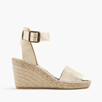 J.Crew Corsica Metallic Tumbled Leather Espadrille Wedges Pale Gold