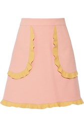 Red Valentino Redvalentino Two Tone Ruffle Trimmed Cady Mini Skirt Baby Pink