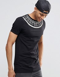 Asos Muscle Longline T Shirt With Geo Tribal Neck Print Black