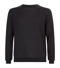 Armani Collezioni Crew Neck Long Sleeved Jumper Male Navy