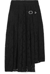 Maje Jalilo Buckled Asymmetric Pleated Guipure Lace Midi Skirt Black