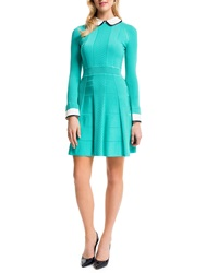 Cynthia Steffe Mixed Knit Dress W Collar And Cuffs Aqua Crush