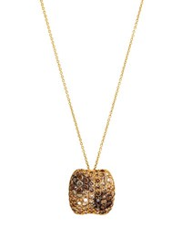 Roberto Coin Fantasia 18K Cognac Diamond Flower Pendant Necklace