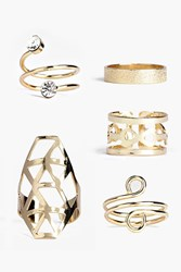 Boohoo Spiral Mixed Ring Set Gold