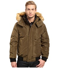 Marc New York Knox Memory Shell Down Bomber With Faux Fur Trimmed Removable Hood Grove Men's Coat Green