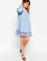 Asos Swing Dress With Off Shoulder And Lace Inserts Duckeggblue