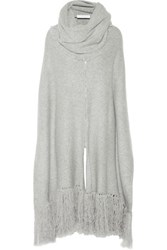 Thakoon Addition Ribbed Cashmere Poncho Light Gray