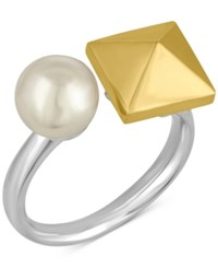 Majorica Two Tone Imitation Pearl And Pyramid Statement Ring Two Tone