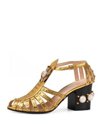 Gucci Kendell Pearly Metallic Mid Heel Sandal Gold