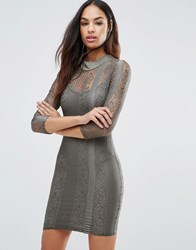 Club L 3 4 Sleeve High Neck Lace Bodycon Dress Khaki Green