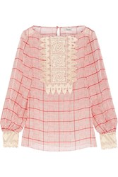 Temperley London Helm Lace Paneled Checked Silk Top Red