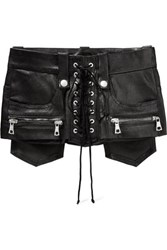 Unravel Project Lace Up Leather Waist Belt Black