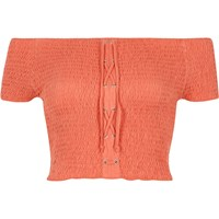River Island Womens Orange Lace Up Shirred Bardot Crop Top