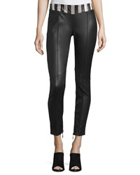 Cnc Costume National Snakeskin Waist Leather Pants Black Women's